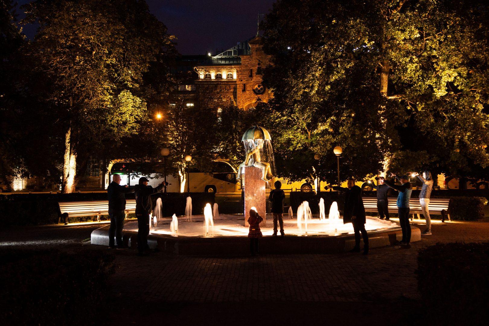Guerilla Lighting Workshop In The Canute Garden, LUCIA's Pilot Site In Tallinn, Estonia